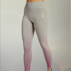 Gymshark Adapt Seamless Ombre Grey Marl/Pink Leggings Size Large NWT